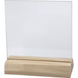 Glasplaatje met houder 15x15cm